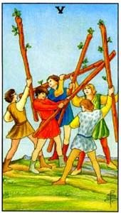 Tarot cards meaning: Five of Wands