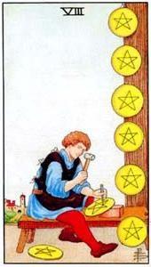 Význam tarotových kariet: Mincová osmička