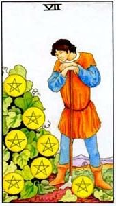 Význam tarotových kariet: Mincová sedmička